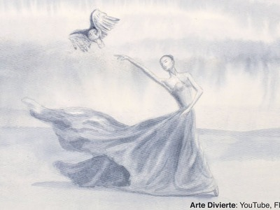 Cómo pintar una acuarela de una bailarina con un halcón - Narrado