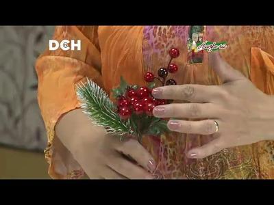 Corona Navideña con cinta de arpillera - Yasna Pino - Casa Puchinni