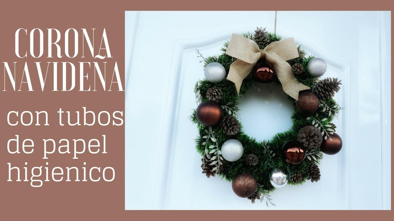 Decoracion Para Navidad Corona Navideña Con Tubos De Papel Higienico