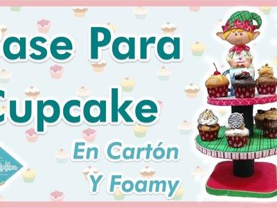 DIY Base Para Cupcake o Postres Cartón y Foamy   Colaboración Sol Flores   Victoria RodAcu