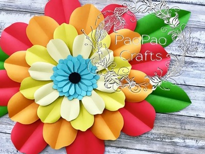 FLOR GIGANTE DE PAPEL | MOLDES GRATIS | HOW TO MAKE PAPER FLOWERS