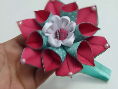 Linda Flor Doble de Puntas , Flores de Liston Tutorial