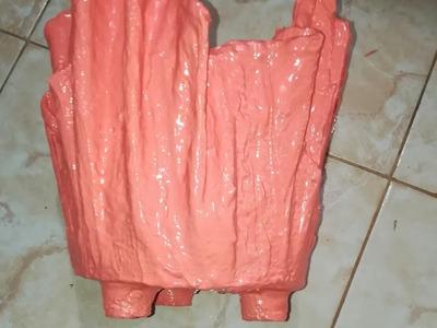 Maceta de toalla y cemento con patitas  flower pot