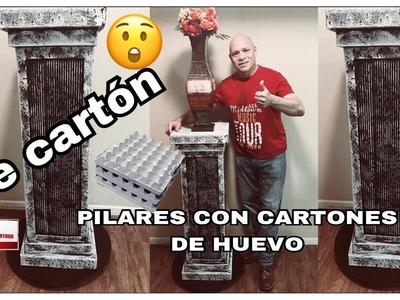 PILAR O PEDESTAL  DE CARTON CON CARTONES DE HUEVO # 1