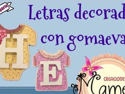 1ª Parte Cuadro infantil de letras decorado con gomaeva Creaciones Mamem