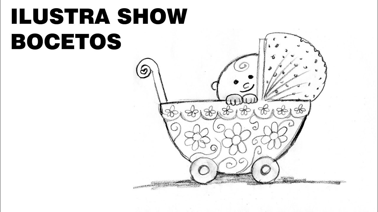 BOCETOS Como dibujar BEBÉ con CARRIOLA Tutorial ILUSTRA SHOW