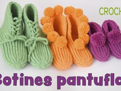 Botines pantuflas tejidas a crochet en punto elástico en 3 tallas - Tejiendo Perú