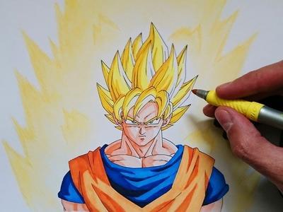 Cómo dibujar a Goku SSJ paso a paso - Comparación dibujo 2016