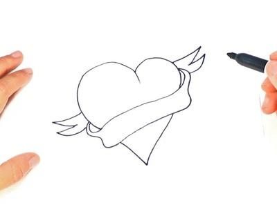 Cómo dibujar un Corazon Bonito paso a paso y fácil