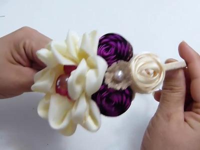 Como Hacer Flor petalo Doble y  Botón de Flor con cinta zigzag