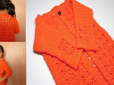 Como tejer CARDIGAN CHAQUETA niña a crochet paso a paso - How to crochet girl JACKET step by step