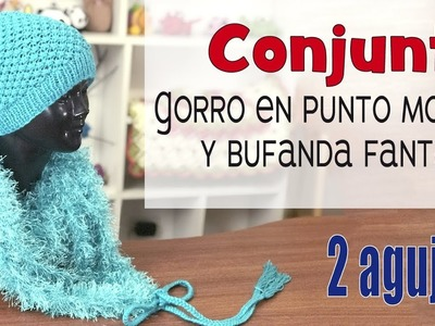Conjunto de gorro en punto mora y bufanda fantasía tejidos en 2 agujas   Tejiendo Perú