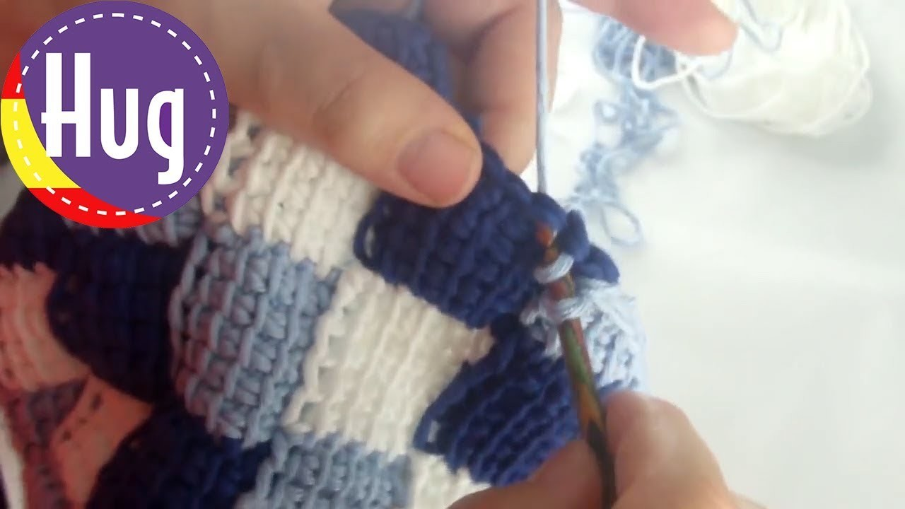 "Crochet tunecino - Gorro en entrelac - lana hatnut ""surf"" de Pro Lana - Veronika Hug"