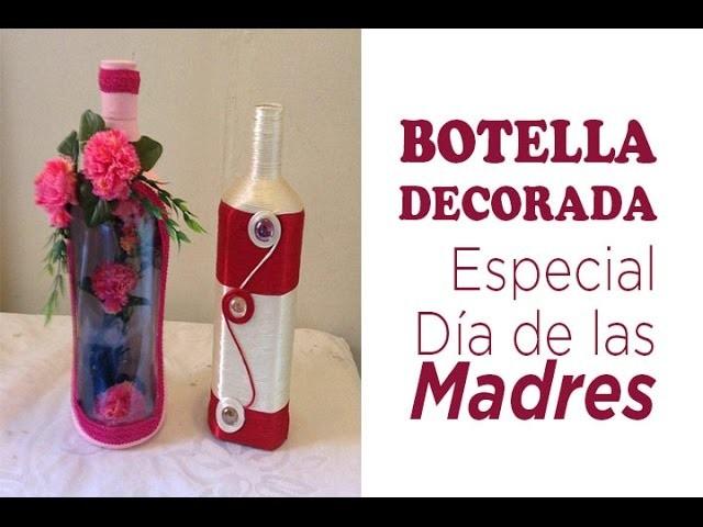 Decoración de Botella con Flores