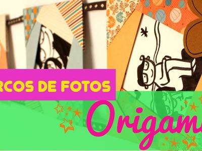 ¡¡ Marco de fotos de origami !! Cómo hacer un portaretratos de papiroflexia muy sencillo para fotos