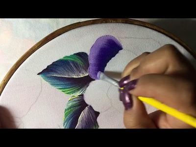 Pintura En Tela Flor  Pensamiento # 1 Con Cony