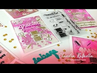 Tarjeta de agradecimiento con SELLOS Y TROQUELES de Micaela Ferrero y Distress Ink- Claudia Rafaella