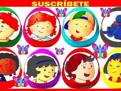 8 huevo sorpresa de Caillou y sus amigos juguetes toys surprise eggs aprender los colores español