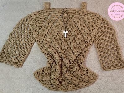 Blusa con mangas a crochet paso a paso