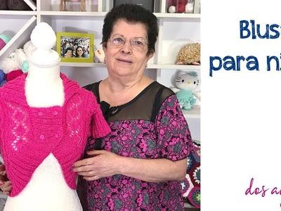 Blusa mariposa tejida a dos agujas para niñas - Tejiendo Perú