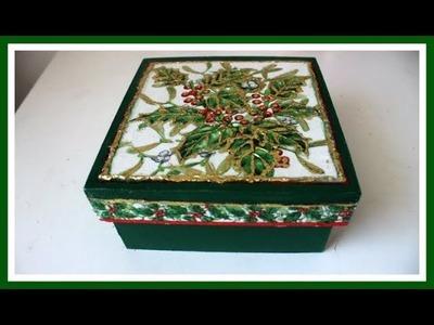 Caja navideña con decoupage y papel foil - Navidad 2017 - Manualidades navideñas - DIY - Tutorial