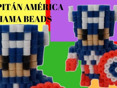 ⭕⭕CAPITÁN AMÉRICA HAMA BEADS 3D!! ⭕⭕hecho por mi novio XD!!