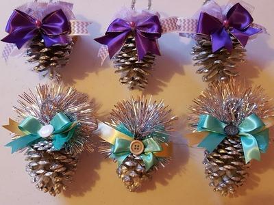 Como decorar piñas de pino para navidad
