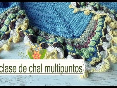 Como hacer chal en crochet multipuntos |1º clase |ganchillo facil