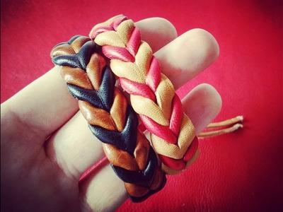 Como hacer pulseras de cuero simulando una trenza paso a paso. Curso básico de cuero. Diy Leather.