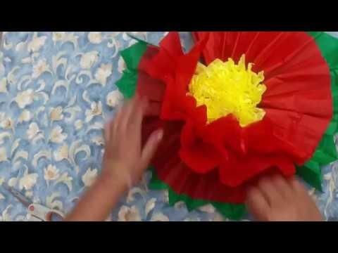 COMO HACER UNA FLOR GRANDE  DE PAPEL CHINA ♠♠♠ How to maker flowers