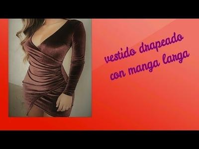 Como hacer vestido drapeado con manga larga
