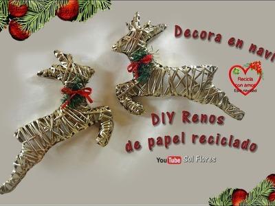Decora en navidad DIY renos de papel reciclado - Decorate at Christmas, DIY recycled paper reindeer