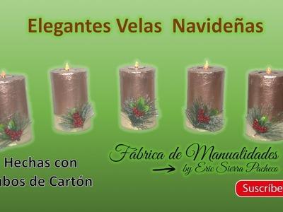 Elegantes Velas Navideñas Metalizadas. Hechas con tubos de cartón. DIY.