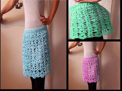Falda a crochet facil y rapido   Falda a crochet de flores