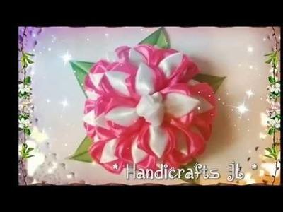 Flor de listón paso a paso. crisantemo de listón. ribbon flower step by step