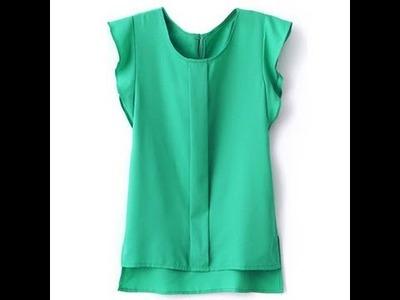 How make a chifon blouse | como hacer una blusa de  chifon en 20min