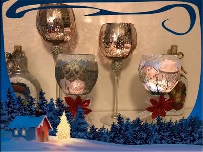Manualidades Navideña (reciclando copas de Vino)
