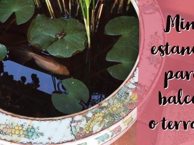 Mini estanque en macetero de porcelana oriental con peces y nenufares para tu terraza y balcón