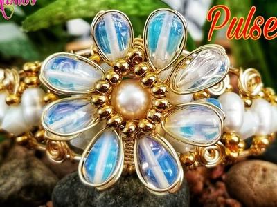 Pulsera Flor De Opalos y Perlas, Alambrismo DIY