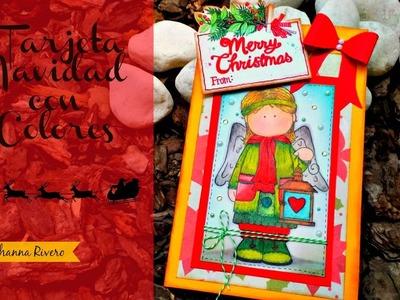 Tarjeta de Navidad,Pintada a mano con Colores!!
