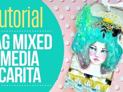 Tutorial Tag Carita con Mixed Media - por Wilma
