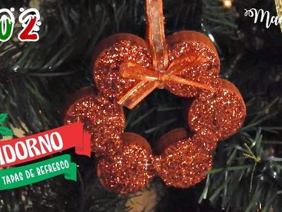 Adorno para el árbol de navidad con TAPAS RECICLADAS de refrescos ???? Adornos Navideños| #NaviTips 02