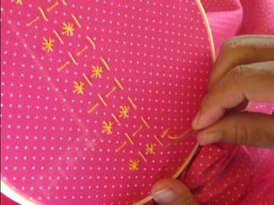Bordando la  blusa  PILY   en tela  de puntitos  (primera parte )