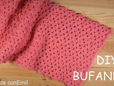 Bufanda a crochet rápida y fácil paso a paso