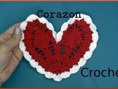 Como hacer un CORAZON a #crochet para el Día del Amor y Amistad tutorial paso a paso. Moda a Crochet