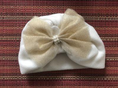 Como hacer un gorrito para bebe con tela polar❤️con moño de tul
