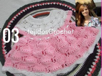 Como tejer Vestido en crochet .  Parte TRES