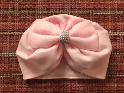 Gorrito turbante con tela polar y moño de la misma tela????❤️(gorro simple de una tela)