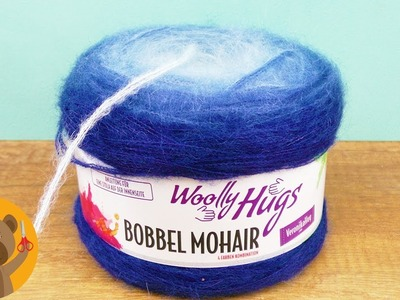 Madeja de lana Mohair de Wolly Hugs | Chal super acolchonado en punto burbuja|Tonos azules | Chal XL