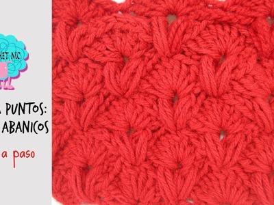 Mezcla de puntos: puff y abanicos a crochet